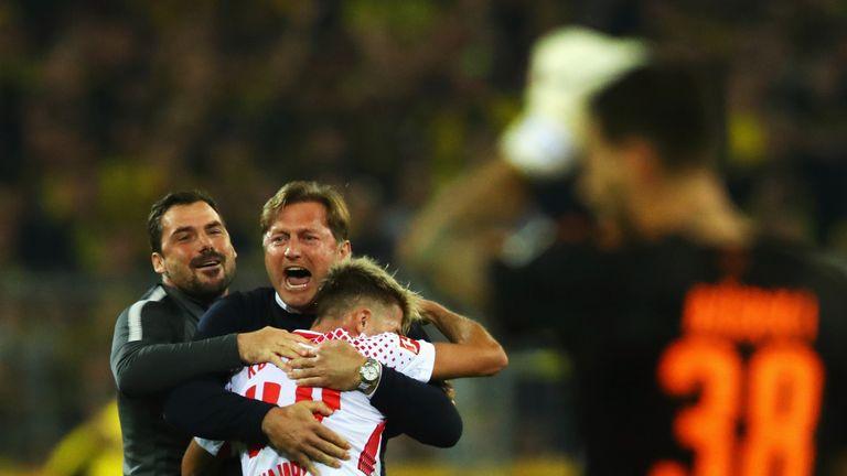 Ralph Hasenhuttl celebrates a victory over Borussia Dortmund