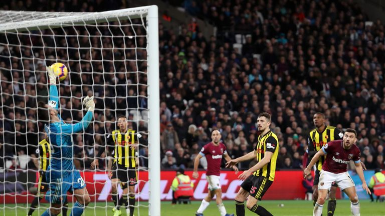 during the Premier League match between West Ham United and Watford FC at London Stadium on December 22, 2018 in London, United Kingdom.