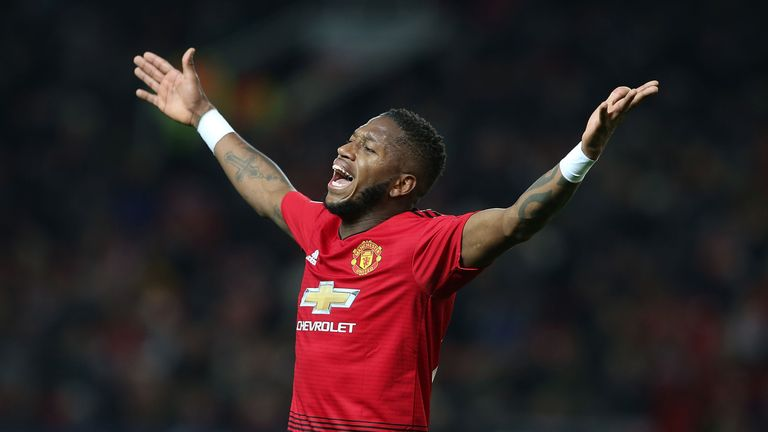 Fred of Manchester United in action during the Group H match of the UEFA Champions League between Manchester United and BSC Young Boys at Old Trafford on November 27, 2018 in Manchester, United Kingdom.