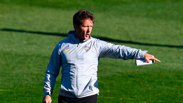 Boca Juniors' coach Guillermo Barros takes training