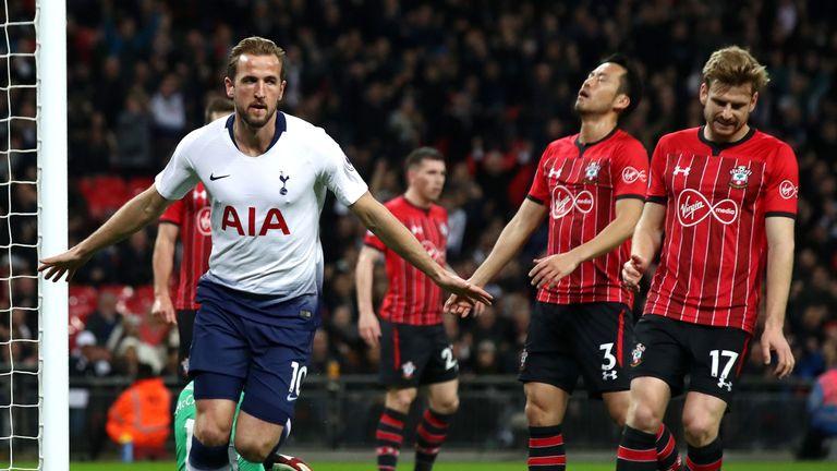 Harry Kane celebrates giving Tottenham the lead