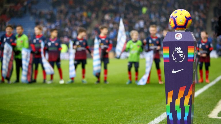 """A view of the match ball on a plinth before the Premier League match at the John Smith's Stadium, Huddersfield. PRESS ASSOCIATION Photo. Picture date: Saturday December 1, 2018. See PA story SOCCER Huddersfield. Photo credit should read: Dave Thompson/PA Wire. RESTRICTIONS: EDITORIAL USE ONLY No use with unauthorised audio, video, data, fixture lists, club/league logos or """"live"""" services. Online in-match use limited to 120 images, no video emulation. No use in betting, games or single club/league/player publications."""