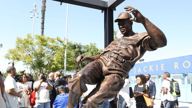 The Jackie Robinson Statue stands outside Dodger Stadium in Los Angeles