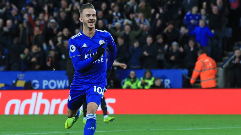 James Maddison celebrates after scoring Leicester's second goal