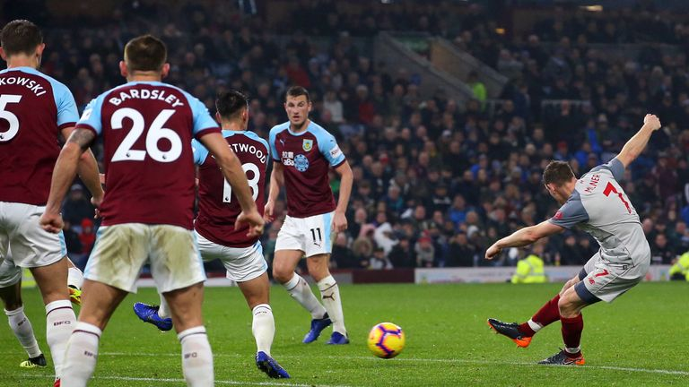 during the Premier League match between Burnley FC and Liverpool FC at Turf Moor on December 5, 2018 in Burnley, United Kingdom.