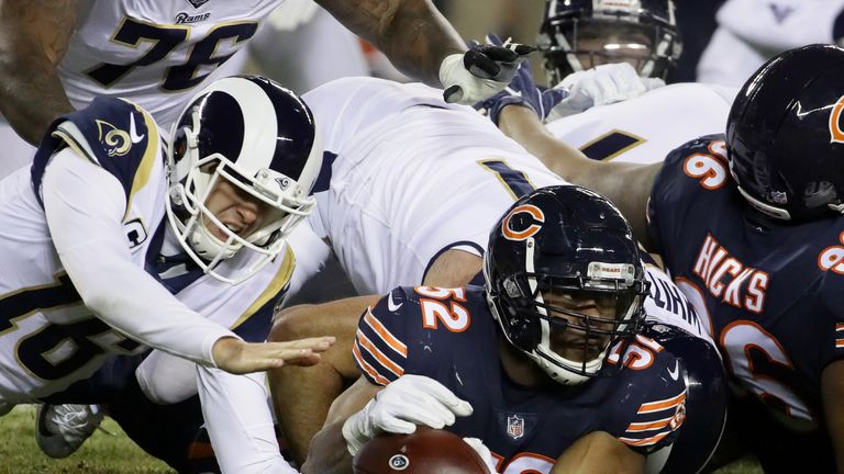 Rams quarterback Jared Goff loses the football in their Sunday night defeat to the Bears
