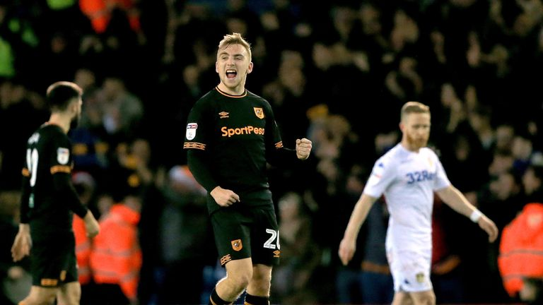 """Hull City's Jarrod Bowen celebrates his sides victory at the end of the game during the Sky Bet Championship match at Elland Road, Leeds. PRESS ASSOCIATION Photo. Picture date: Saturday December 29, 2018. See PA story SOCCER Leeds. Photo credit should read: Clint Hughes/PA Wire. RESTRICTIONS: EDITORIAL USE ONLY No use with unauthorised audio, video, data, fixture lists, club/league logos or """"live"""" services. Online in-match use limited to 120 images, no video emulation. No use in betting, games or single club/league/player publications."""