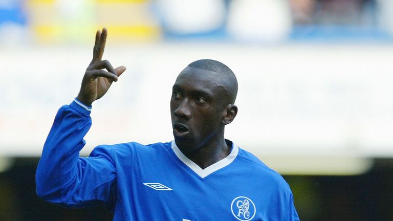 Jimmy Floyd Hasselbaink of Chelsea celebrates scoring their second goal during the FA Barclaycard Premiership match between Chelsea and Blackburn Rovers at Stamford Bridge on August 30, 2003 in London.