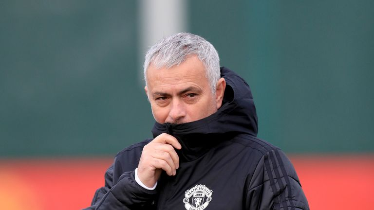 Jose Mourinho during a training session at Manchester United's AON Training Complex