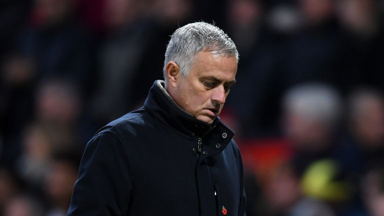 Jose Mourinho during the Premier League match between Manchester United and Everton at Old Trafford on October 28, 2018