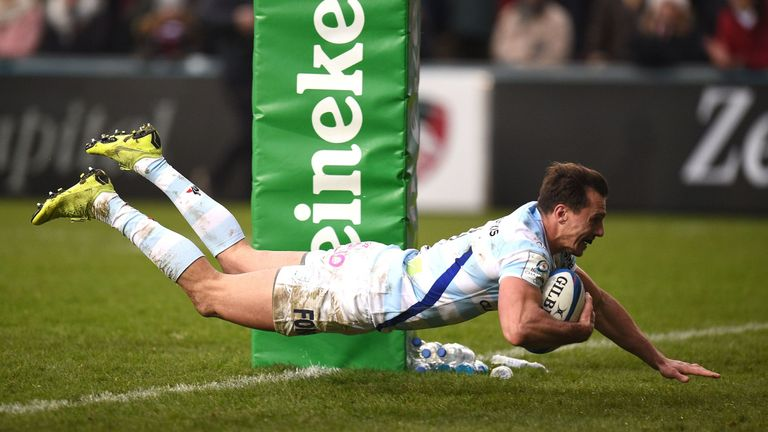 Juan Imhoff scored Racing 92's fourth try late in the game at Welford Road