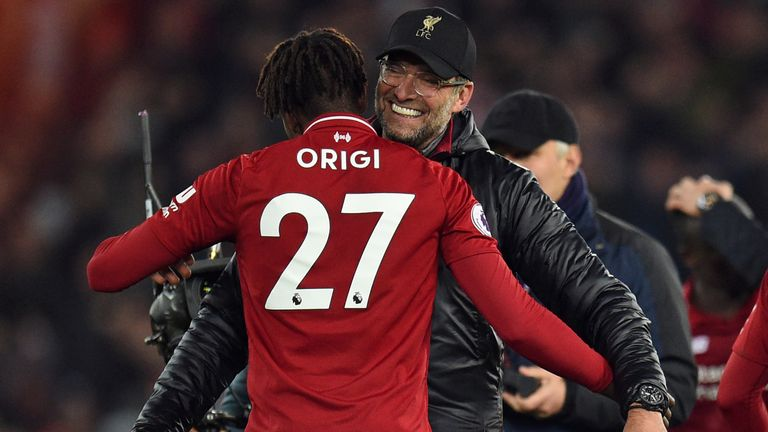 Klopp ran on to the pitch to celebrate after Divock Origi's winner deep in stoppage time