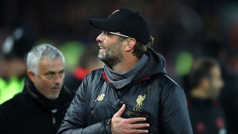 Jurgen Klopp and Jose Mourinho at Anfield ahead of Liverpool's clash with Manchester United