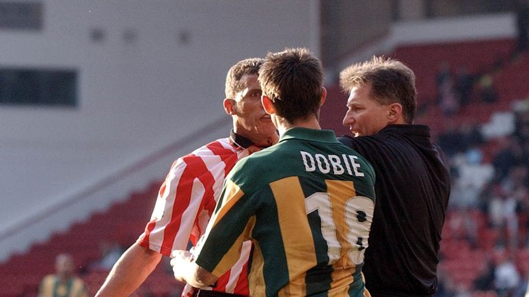 Keith Curle and Scott Dobie square up during the Battle of Bramall Lane between Sheffield United and West Brom in 2002