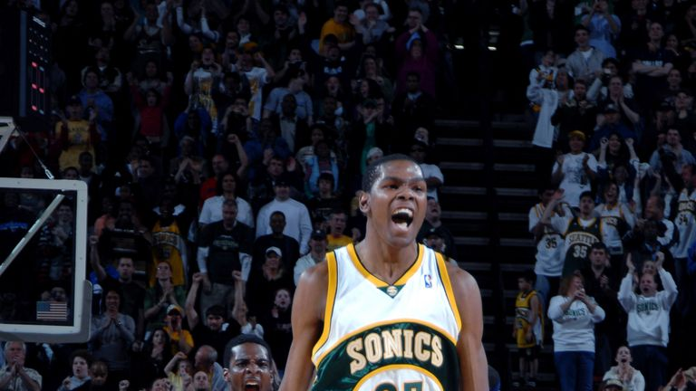Kevin Durant celebrates after shooting the winning basket agains the Dallas Mavericks for the Seattle SuperSonics in 2008