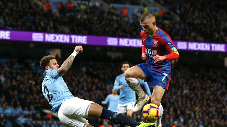 Kyle Walker fouls Max Meyer in the penalty area