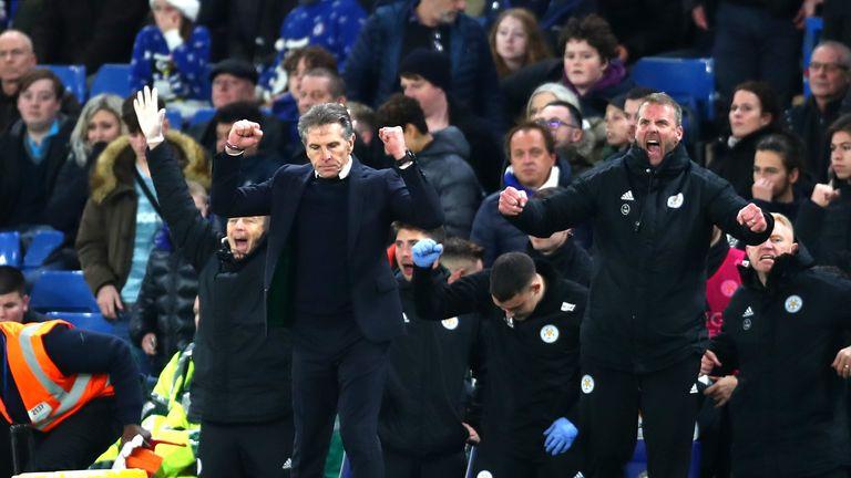 Claude Puel celebrates victory