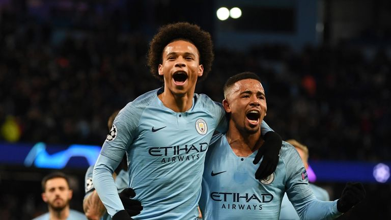 Leroy Sane of Manchester City celebrates scoring his sides first goal with Gabriel Jesus during the UEFA Champions League Group F match between Manchester City and TSG 1899 Hoffenheim at Etihad Stadium on December 12, 2018 in Manchester, United Kingdom