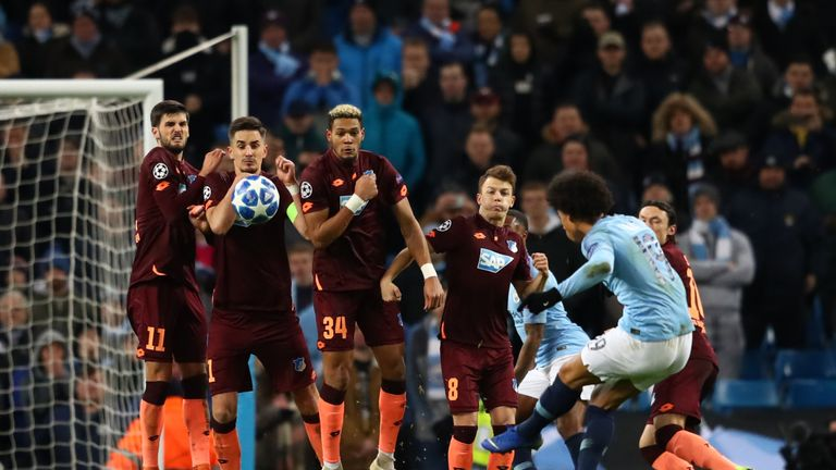 Leroy Sane of Manchester City scores his sides first goal during the UEFA Champions League Group F match between Manchester City and TSG 1899 Hoffenheim at Etihad Stadium on December 12, 2018 in Manchester, United Kingdom