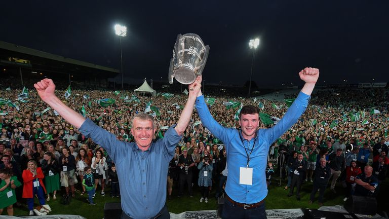 John Kiely and Declan Hannon celebrate at the homecoming