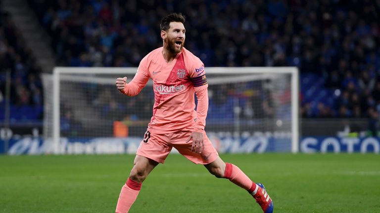 Lionel Messi scored twice in Barcelona's 4-0 win against Espanyol
