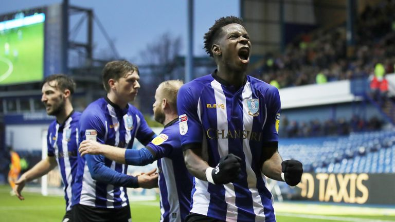 Sheffield Wednesday's Lucas Joao (right) celebrates their opening goal