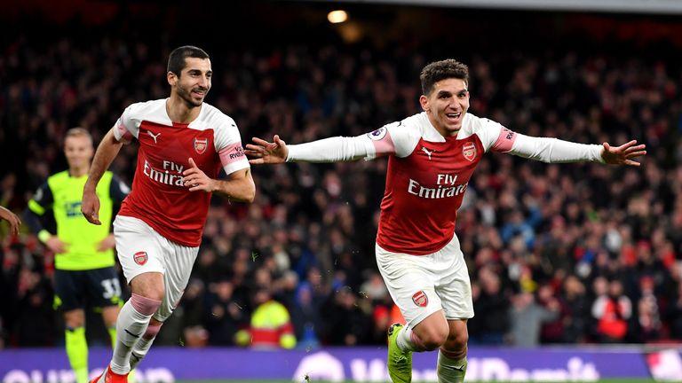 Lucas Torreira celebrates scoring for Arsenal