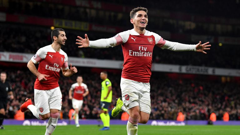 Lucas Torreira celebrates scoring for Arsenal