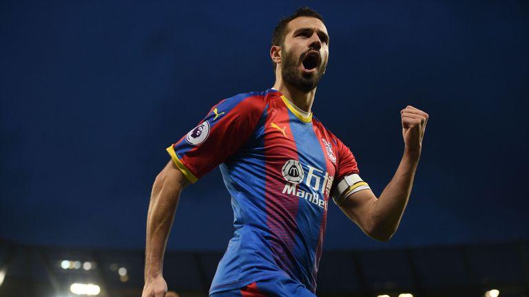 Luka Milivojevic celebrates his goal at the Etihad Stadium