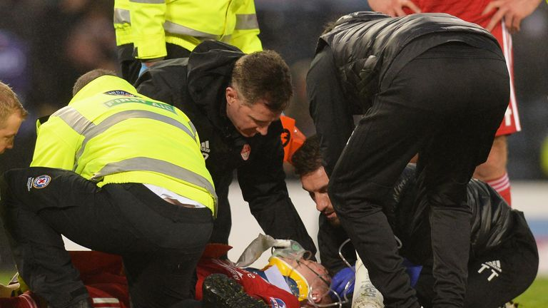 Gary Mackay-Steven was carried off on a stretcher after a clash of heads with Dedryck Boyata