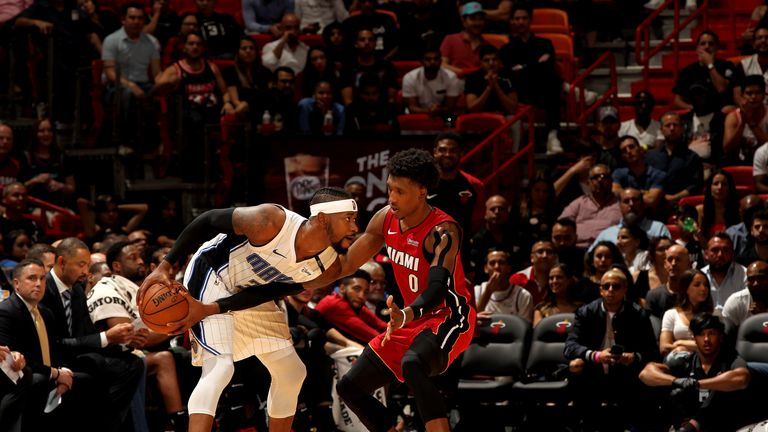 Terrence Ross #31 of the Orlando Magic handles the ball against the Miami Heat on December 4, 2018 at American Airlines Arena in Miami, Florida.