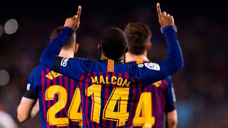 Malcom celebrates putting Barcelona 3-0 up against Cultural Leonesa