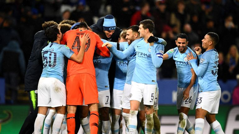 Manchester City celebrate their penalty shootout win
