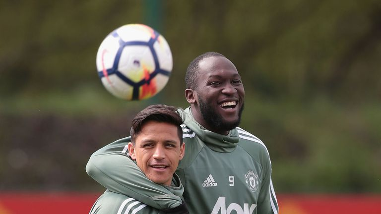 Alexis Sanchez and Romelu Lukaku at Aon Training Complex on April 28, 2018 in Manchester, England.