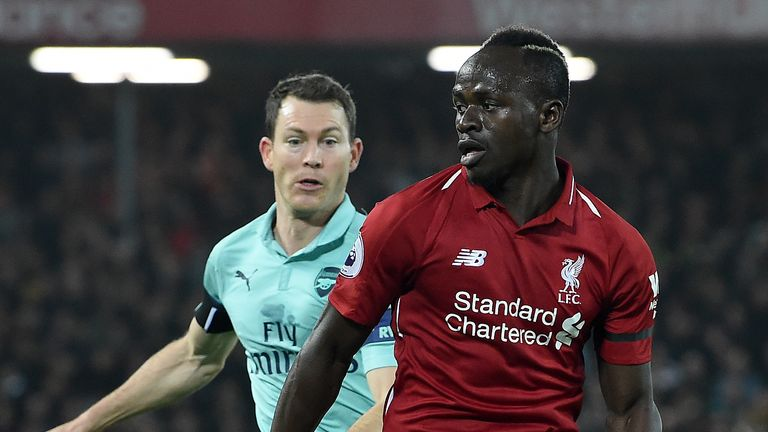 Sadio Mane and Stephan Lichtsteiner were involved in a tussle early on at Anfield