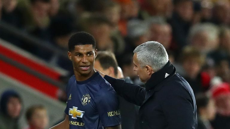 Rashford speaking to Jose Mourinho after being substituted against Southampton