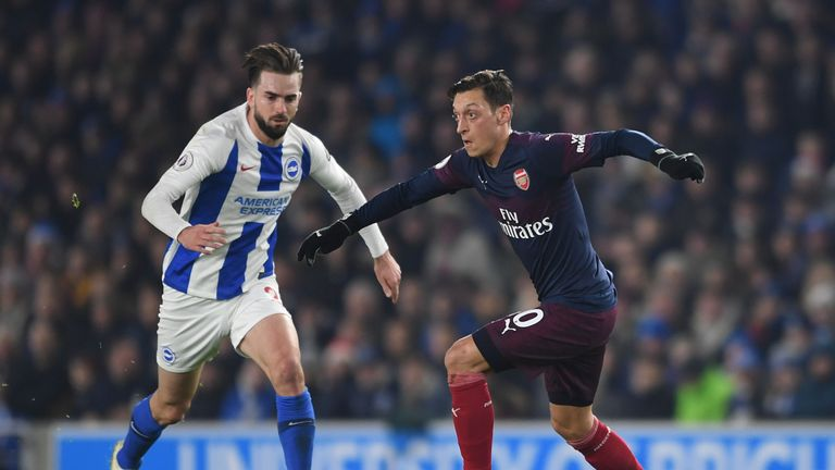 Ozil only lasted 45 minutes of Arsenal's 1-1 draw away to Brighton