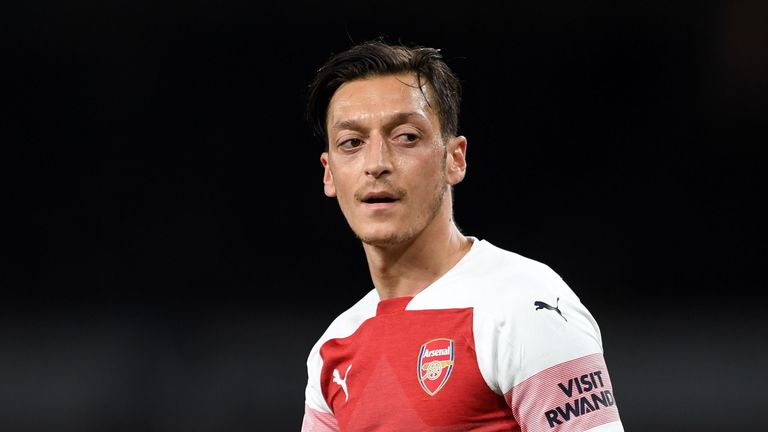 Mesut Ozil during the Premier League match between Arsenal FC and Leicester City at Emirates Stadium on October 22, 2018 in London, United Kingdom.