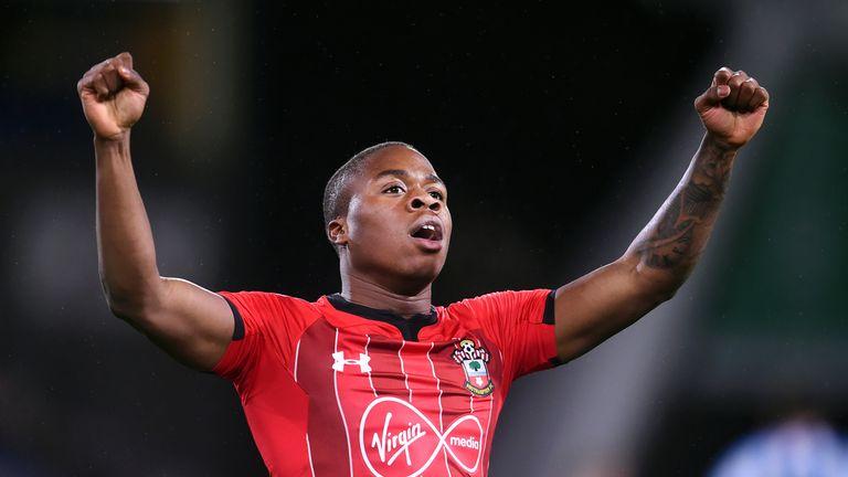 Michael Obafemi celebrates his goal