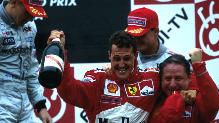 The race Michael described as his very best. At the fifth attempt, he won his first world title with Ferrari - ending their 21-year wait. A gripping Suzuka duel with Hakkinen at 2000's penultimate round turned at the final stops in Michael's favour.