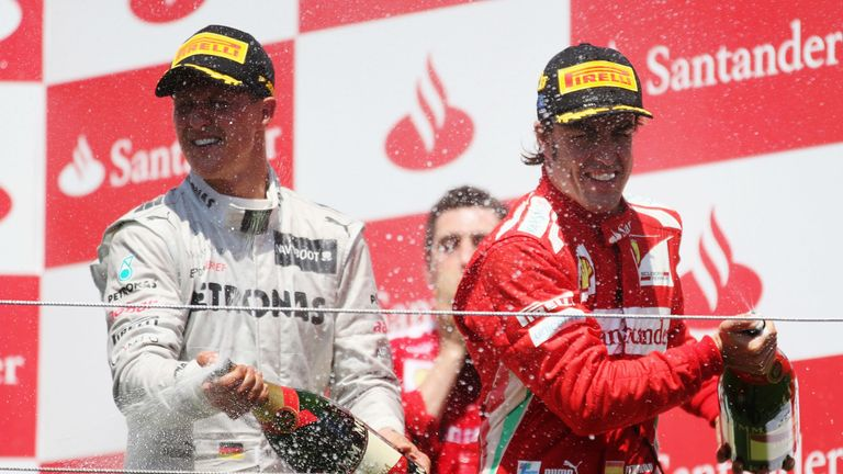 Six years after his last podium, Schumacher, in an unreliable and underperforming Mercedes, rolled back the years in Valencia with a typically dogged drive at the age of 43 – making up nine places on race day to finish behind Alonso and Raikkonen.