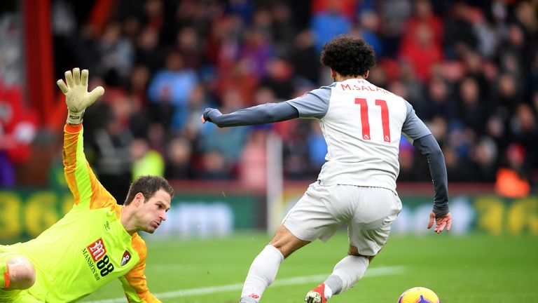 Mohamed Salah rounds Asmir Begovic for a second time to score his hat-trick goal