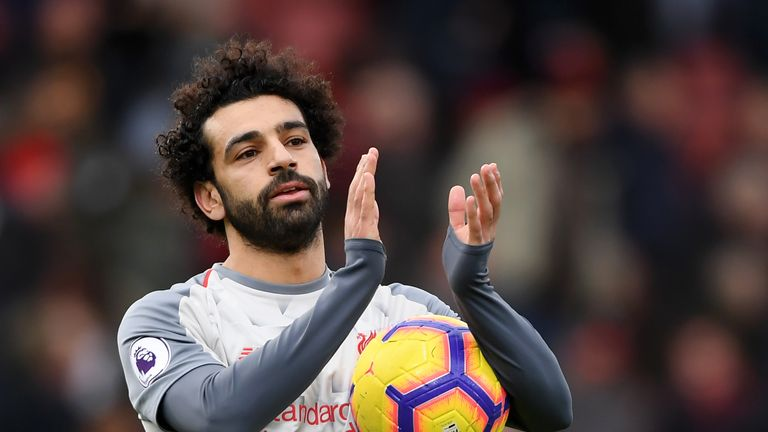 Mohamed Salah with the match ball after his hat-trick against Bournemouth