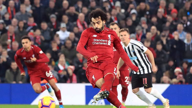 Salah scores from the spot to put Liverpool 2-0 up against Newcastle