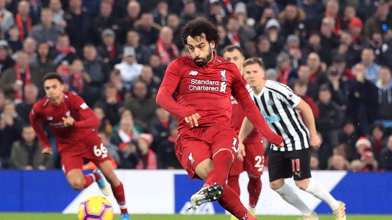 Mohamed Salah scores from the spot
