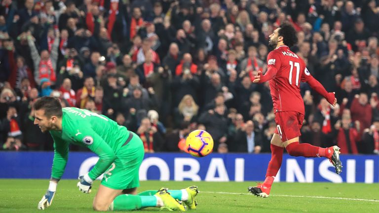 Mohamed Salah celebrates scoring one of his many goals for Liverpool