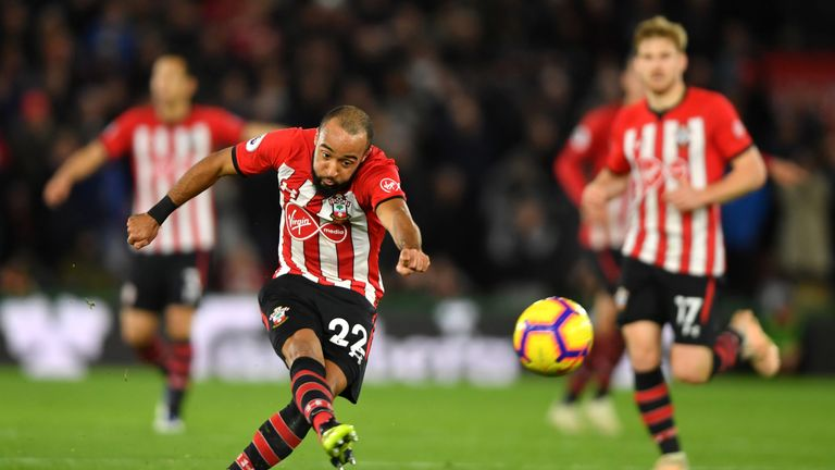 Nathan Redmond gets a shot away during Southampton's 2-2 draw with Man Utd
