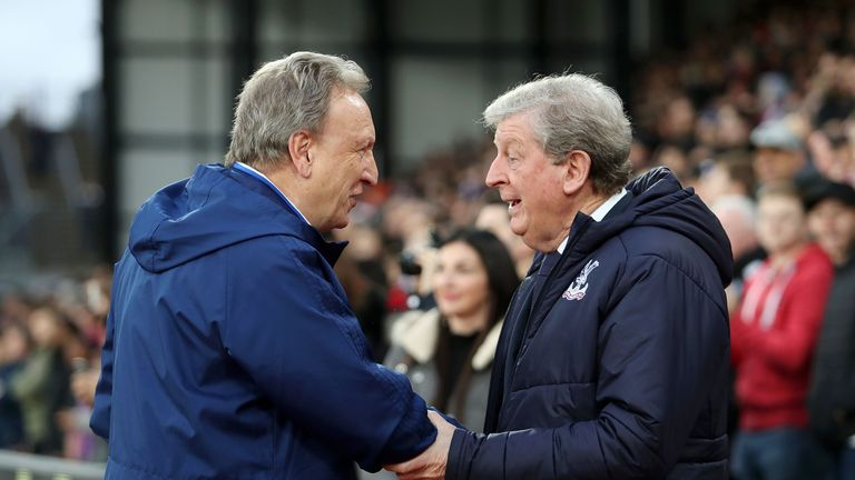 Neil Warnock shakes hands with Roy Hodgson before the game