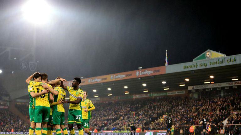 Norwich players celebrate Teemu Pukki's goal against Rotherham in December 2018