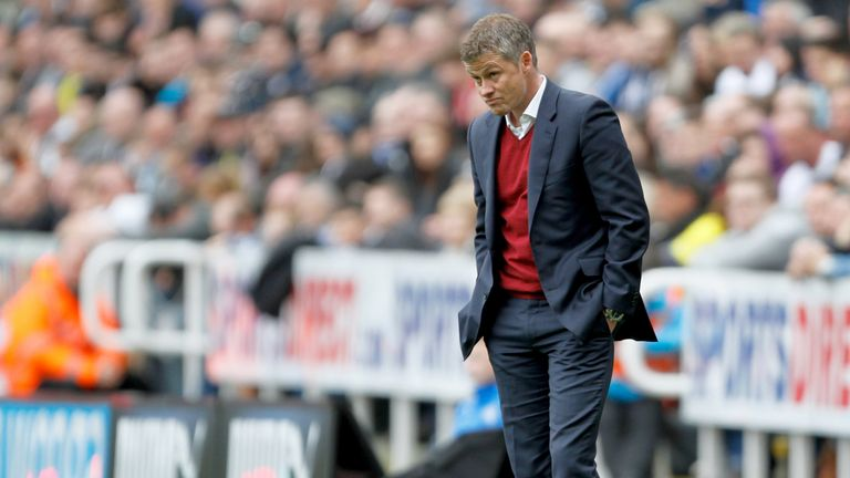 Cardiff City's manager, Ole Gunnar Solskjaer of Cardiff during the Barclays Premier League match between Newcastle United and Cardiff City at St. James'  Park on May 03, 2014